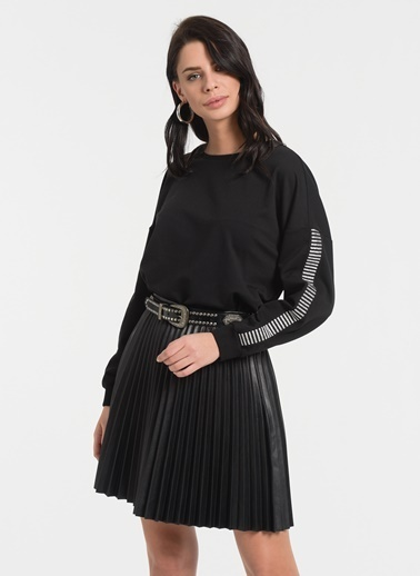 Styletag Kol Detaylı Sweatshirt Siyah